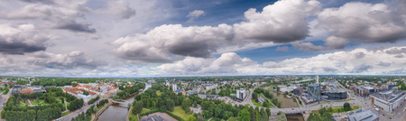 Panoramic sunset aerial view of Tartu skyline, Estonia.