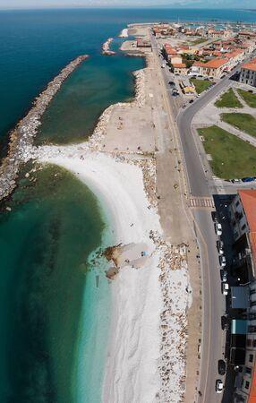 Vertical panoramic aerial view of beautiful beach.