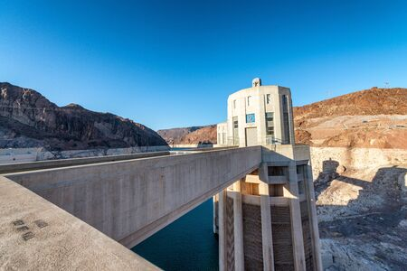 Hoover Dam, USA. Hydroelectric power station on the border of Arizona and Nevada.