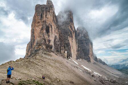 Three Peaks of Lavaredo in summer season, Italian Alps.