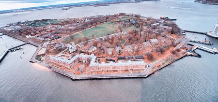 Wide angle aerial view of Governors Island, New York City.