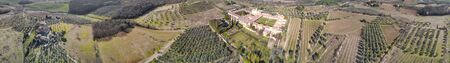 Panoramic aerial view of Pontignano Charterhouse near Siena with Tuscany Hills, Italy. Stock Photo
