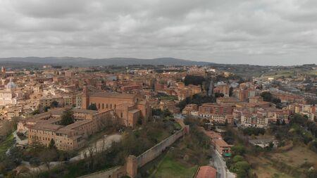 Siena, Tuscany. Beautiful aerial city skyline from surrounding hills. 版權商用圖片