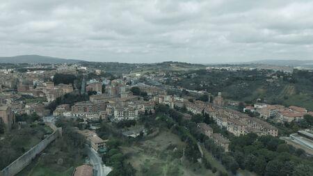 Amazing aerial view of Siena medieval skyline, Tuscany.