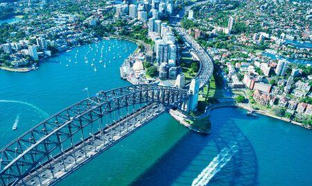 Aerial view of Sydney Harbor Bridge, city symbol, Australia. Stock Photo