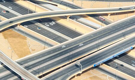 Aerial view of road intersections.