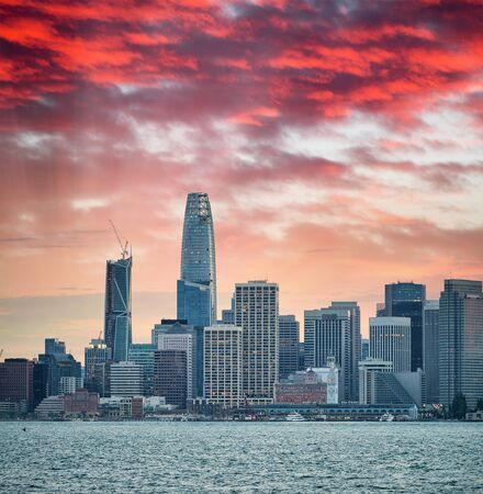San Francisco, California. Panoramic sunset view of Downtown skyline. Stock Photo