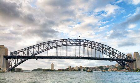 Beautiful view of Sydney Harbor Bridge from cruise ship in Sydney Harbor.