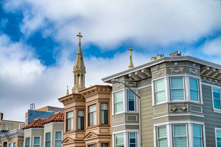 Colourful homes of San Francisco. Stock Photo