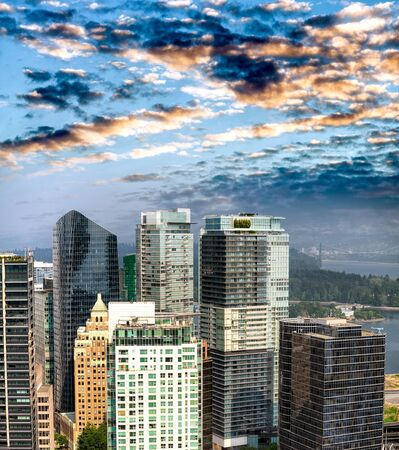 Aerial view of Vancouver cityscape at dusk, BC - Canada.