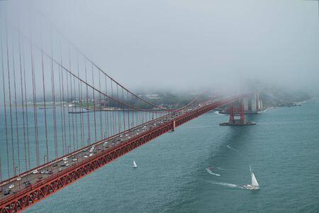 Golden Gate Bridge surrounded by fog, San Francisco. Imagens