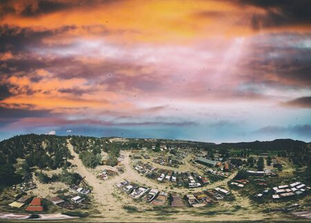Panoramic aerial view of abandoned vintage car park.