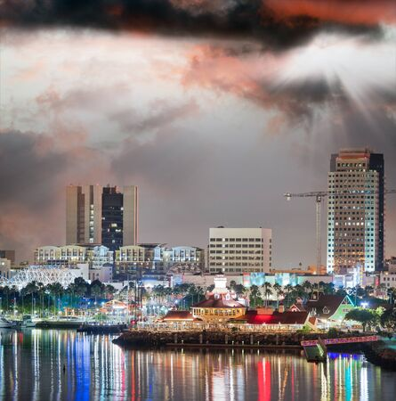 San Diego at dusk, view from city port.
