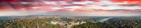 Budapest, Hungary. Panoramic aerial view of city skyline at sunset from Citadel Hill. Stock Photo