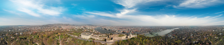 Budapest, Hungary. Panoramic aerial view of city skyline at sunset from Citadel Hill. 免版税图像