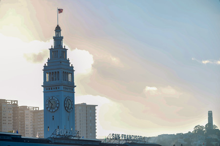 Ferry Building in Downtown San Francisco at Market Street.