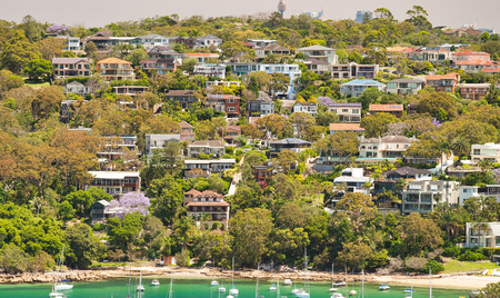 Panoramic aerial view of Manly Beach skyline on a sunny day, Australia.