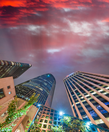 Upward view of San Francisco Downtown buildings.