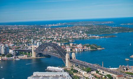 Aerial view of Sydney Harbor Bridge, city symbol, Australia.
