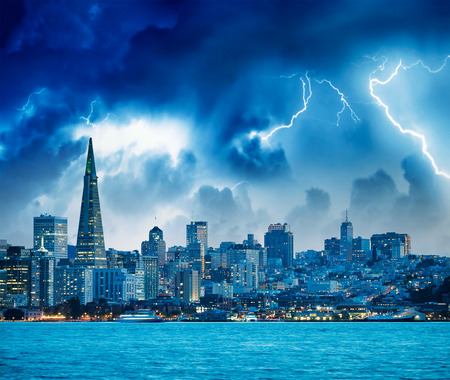 San Francisco, California. Panoramic view of Downtown skyline during a storm.