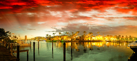 Boca Raton and City Lake on a beautiful sunset, panoramic view.