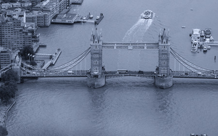 Aerial view of magnificent Tower Bridge in London. Imagens