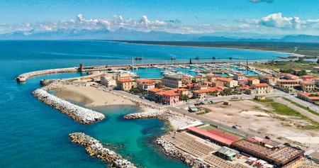 Panoramic aerial view of Marina di Pisa, Italy.