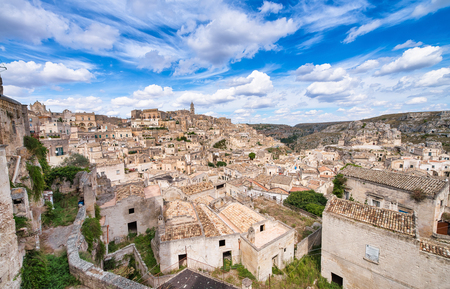 Beautiful view of Matera cityscape in summer season, Italy. Imagens