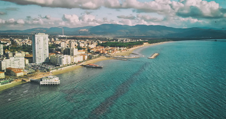 Panoramic aerial view of Follonica coastline - Italy.