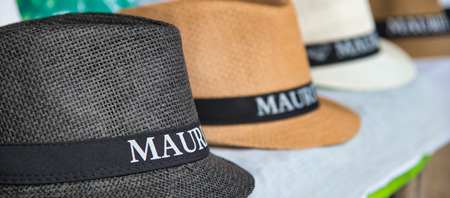 Mauritius straw hats on sale in a tourist shop