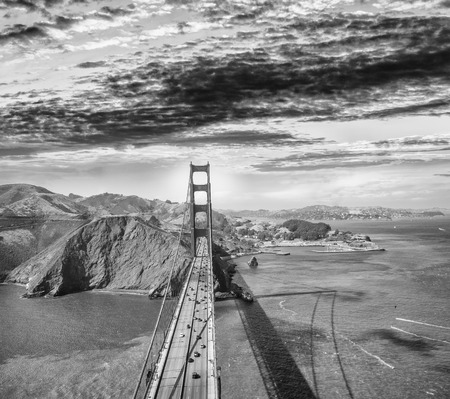 Overhead view of Golden Gate Bridge from helicopter, San Francisco.