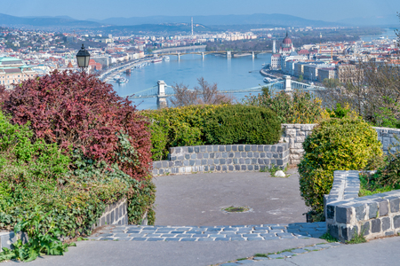 Budapest aerial cityview from Buda Citadel on a sunny day
