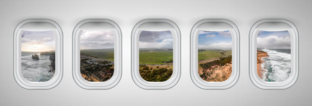 Twelve Apostles coastline as seen through five aircraft windows. Holiday and travel concept.