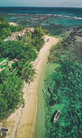 Aerial view of beautiful Mauritius beach, Africa.