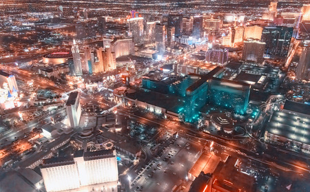 Aerial view of Las Vegas skyline from helicopter. Stock Photo