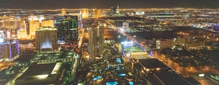 Night aerial view of Las Vegas as seen from helicopter, Nevada
