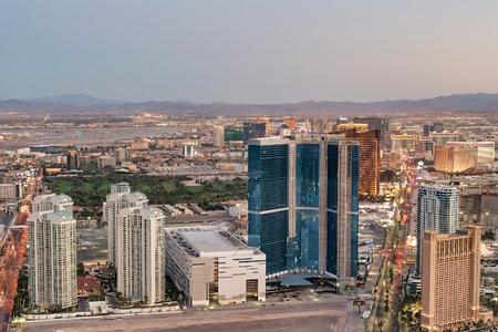 Night aerial view of The Strip in Las Vegas, Nevada - USA