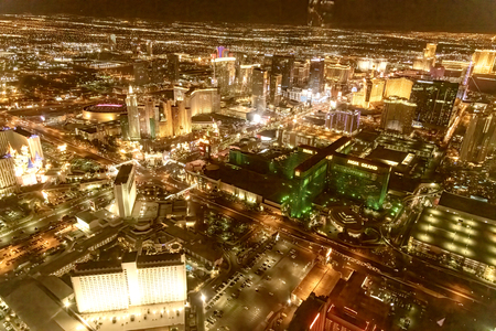 LAS VEGAS, NV - JUNE 29, 2018: Aerial night view of main city Casinos. Las Vegas is known as the Sin City, City of Lights, Gambling Capital of the World. Editorial