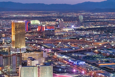 LAS VEGAS, NV - JUNE 29, 2018: Circus Circus Casino night aerial view. Las Vegas is known as the Sin City, City of Lights, Gambling Capital of the World.