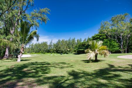 Golf track in Ile Aux Cerfs, Mauritius. Stockfoto - 124088350