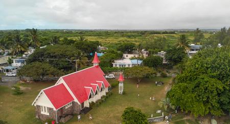 Cap Malheureux in Mauritius. Beautiful view of famous church along the ocean.