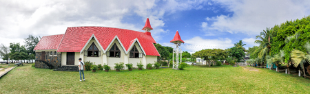 Panoramic view of red church in Cap Malheureux in Mauritius.