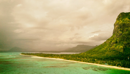 Aerial view of Le Morne Brabant beach in Mauritius. Holiday and travel concept.