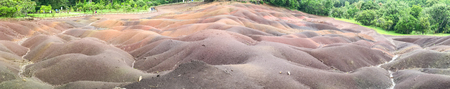 Panoramic view of Chamarel Seven Coloured Earths, Mauritius.
