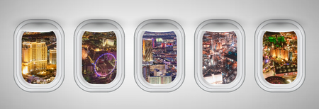 Las Vegas night aerial skyline as seen through five aircraft windows. Holiday and travel concept.