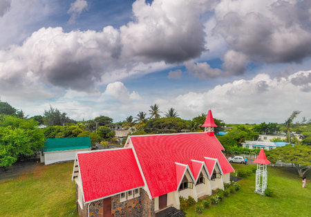 Red Church of Cap Malheureux in Mauritius.