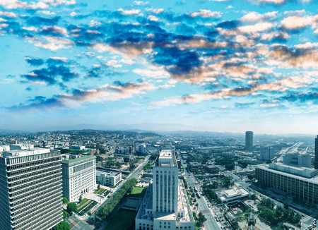LOS ANGELES - JULY 28, 2017: Aerial view of Downtown on a sunny morning.  The city welcomes more than 40 million tourists annually. Editorial
