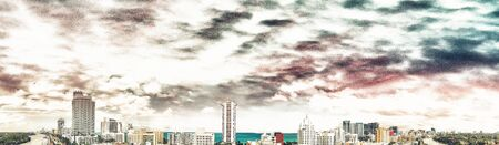 Miami Beach sunset skyline, panoramic aerial view from Canal.