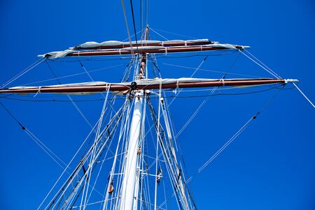Drive Shaft of a beautiful sailing ship. Skyward view.