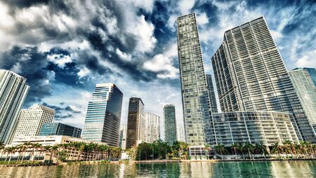 Downtown Miami skyline from Brickell Key on a beautiful sunny day, Florida.